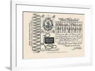 A Satirical Banknote: Crime, Punishment and Protest, 1819-George Cruikshank-Framed Giclee Print