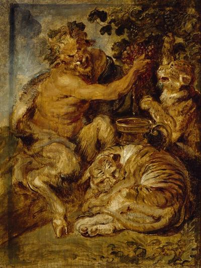 A Satyr Pressing Grapes with a Tiger and Leopard, C.1618-Peter Paul Rubens-Giclee Print