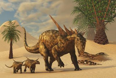 A Sauropelta Mother Leads Her Offspring in a Desert Area of North America-Stocktrek Images-Art Print
