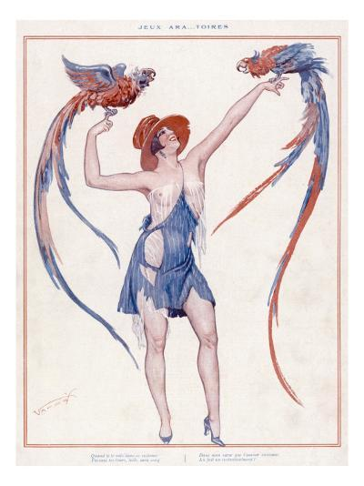 A Scantily Dressed Woman Displays Two Rather Noisy Looking Parrots--Giclee Print