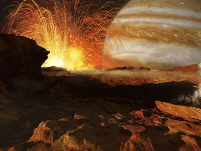A Scene on Jupiter's Moon, Io, the Most Volcanic Body in the Solar System-Stocktrek Images-Photographic Print