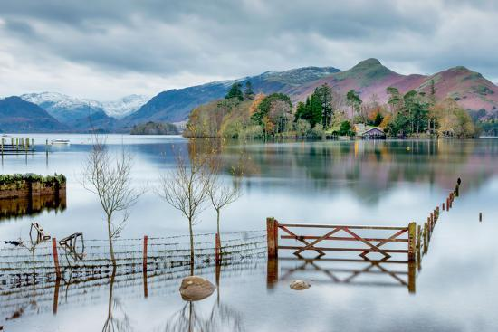 A Scenic Landscape View of Derwentwater, Winter with a Flooded Field and Gate-Julian Eales-Photographic Print