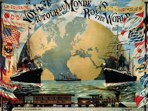 """Voyage Around the World"""", Poster for the """"Compagnie Generale Transatlantique"""", Late 19th Century by A^ Schindeler"""