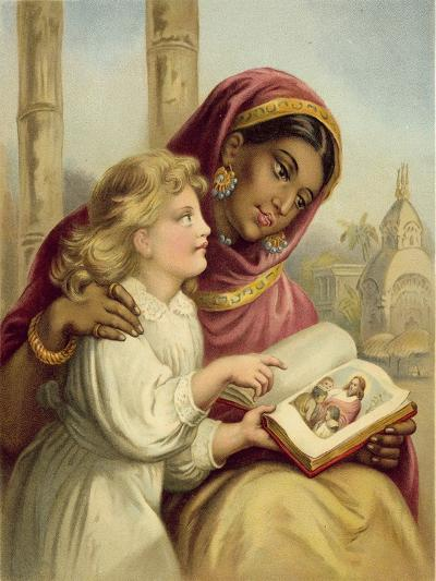 A Scripture Lesson - Indian Girl Teaching an English Child-English School-Giclee Print