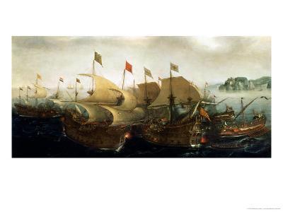 A Sea Action, Possibly the Battle of Cadiz, 1596-Hendrick Cornelisz^ Vroom-Giclee Print