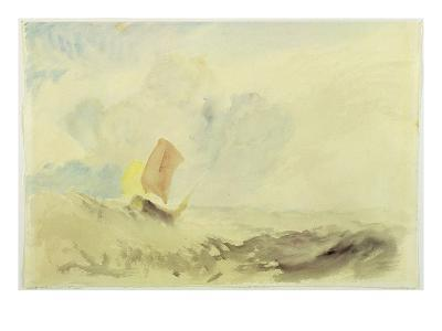 A Sea Piece - a Rough Sea with a Fishing Boat, 1820-30 (W/C on Paper)-J^ M^ W^ Turner-Giclee Print