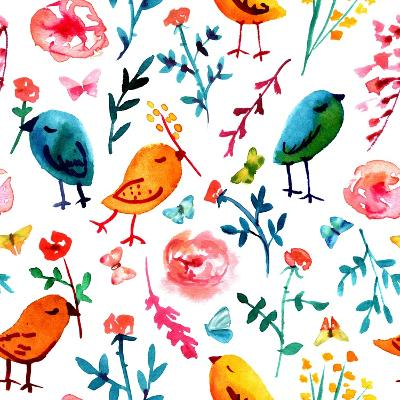 A Seamless Background Pattern with Quirky Watercolor Birds, Butterflies, and Abstract Florals, Hand-Plateresca-Art Print