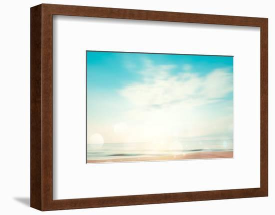 A Seascape Abstract Beach Background. Panning Motion Blur and Bokeh Light of Lens Flare, Pastel Col-jakkapan-Framed Photographic Print