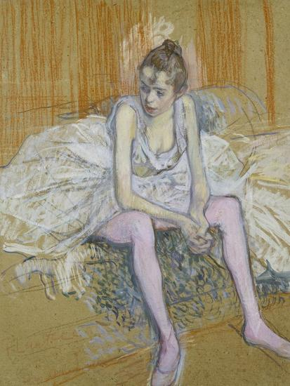 A Seated Dancer with Pink Stockings, 1890-Henri de Toulouse-Lautrec-Giclee Print