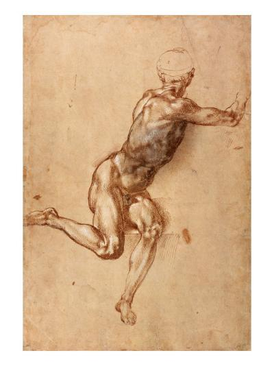 A Seated Male Nude Twisting Around, c.1505-Michelangelo Buonarroti-Giclee Print