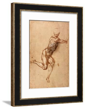 A Seated Male Nude Twisting Around, c.1505-Michelangelo Buonarroti-Framed Giclee Print