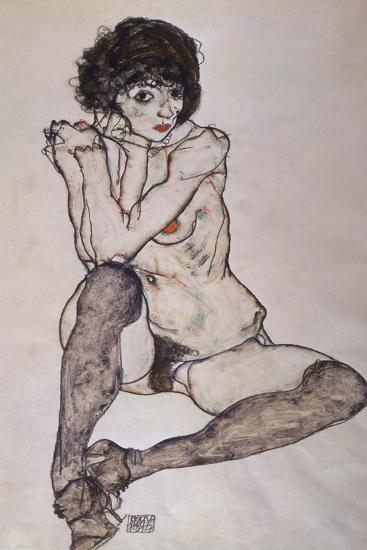 A Seated Nude Female, 1914-Egon Schiele-Giclee Print