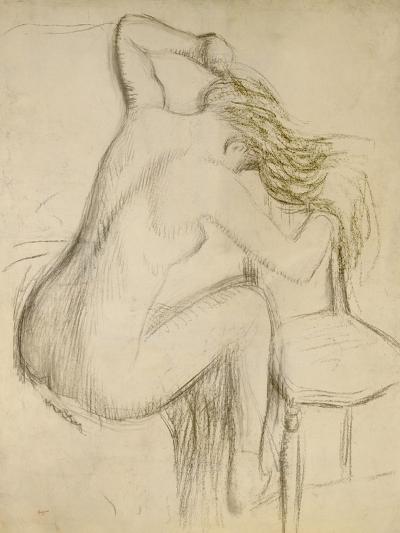 A Seated Woman Styling Her Hair-Edgar Degas-Giclee Print