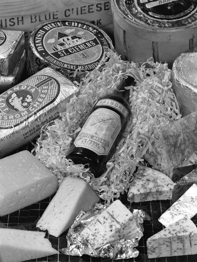 A Selection of Danish Cheeses and a Bottle of Aalborg Aquavit, 1963-Michael Walters-Photographic Print