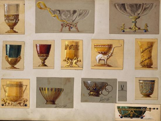 A Selection of Designs from the House of Faberge Including Bowls Goblets Cups and Tumblers--Giclee Print