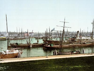 A Selection of River Barges and Steamboats on the Rhine at Rotterdam, Pub. C.1895--Photographic Print