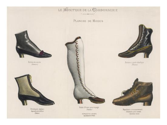 pretty nice 4ac9d 5ed04 A Selection of Victorian Shoes and Boots for Men and Women Giclee Print by    Art.com