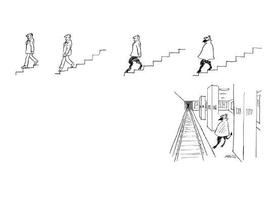 A series of drawings (5) in which an ordinary man descending a set of stai? - New Yorker Cartoon-Mischa Richter-Premium Giclee Print