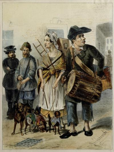 A Servant Take the Dogs Out, 1843-Rudolf Kasimirovich Zhukovsky-Giclee Print