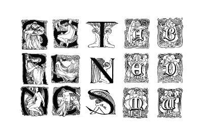 A Set of Decorative Initial Letters, 1898--Giclee Print