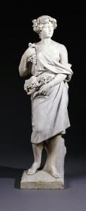 A Set of Four Italian White Marble Figures Emblematic of the Seasons - Autumn, Late 19th Century