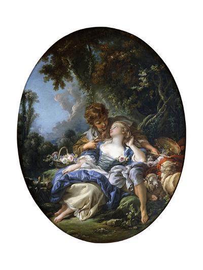 A Shepherd and a Shepherdess in Dalliance in a Wooded Landscape, 1761-Francois Boucher-Giclee Print