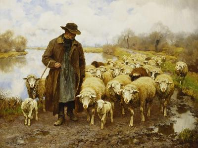 A Shepherd and Sheep by a Lake-Julius Hugo Bergmann-Giclee Print