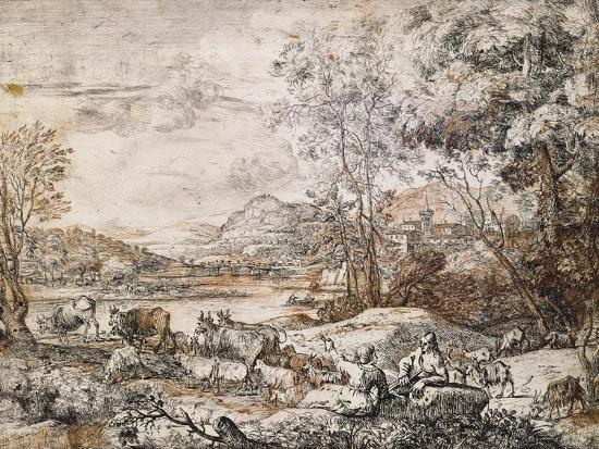 A Shepherd and Shepherdess Conversing-Claude Lorraine-Giclee Print