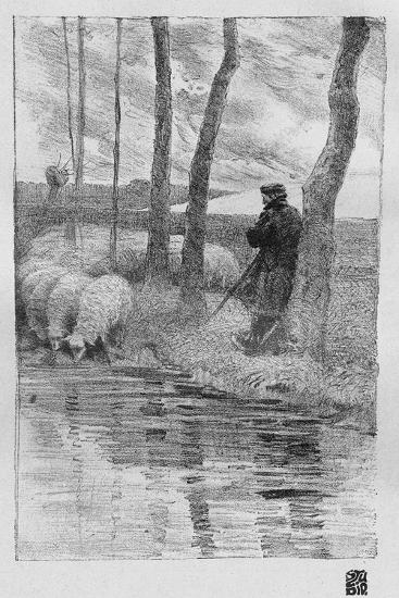 A Shepherd with His Flock by a River, 1899-Robert Hermann Sterl-Giclee Print