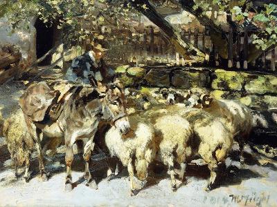 A Shepherd with his Flock-Heinrich Zugel-Giclee Print
