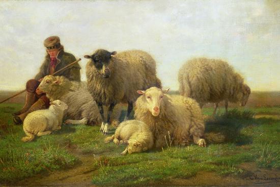 A Shepherd with Sheep and Lambs Giclee Print by Cornelis van Leemputten |  Art com