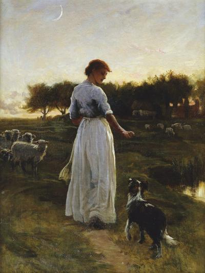 A Shepherdess with her Dog and Flock in a Moonlit Meadow-George Faulkener Wetherbee-Giclee Print