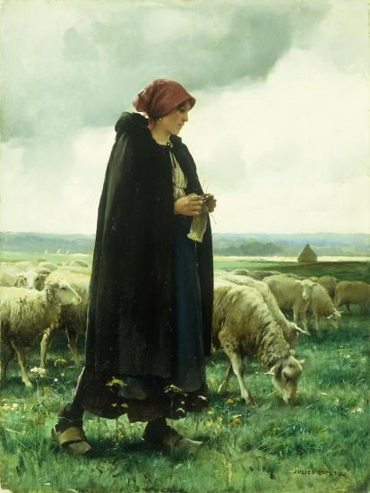 A Shepherdess with Her Flock-Julien Dupre-Giclee Print