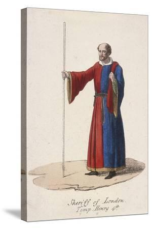 A Sheriff of London, Dressed in Early Fifteenth Century Civic Costume and Holding a Staff, C1830--Stretched Canvas Print