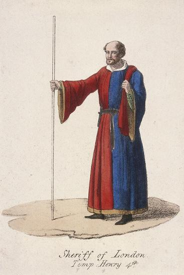 A Sheriff of London, Dressed in Early Fifteenth Century Civic Costume and Holding a Staff, C1830--Giclee Print