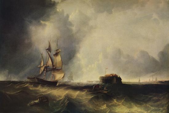 'A ship, and men in a rowing boat off Calais', c1830, (1938)-Unknown-Giclee Print