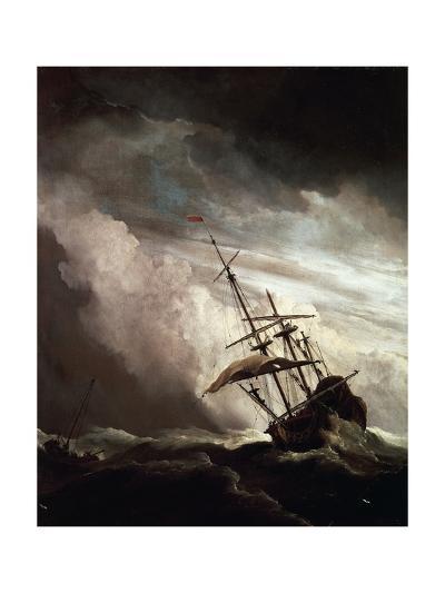 A Ship in Need in Raging Storm, 1680-Willem Van De Velde II-Giclee Print