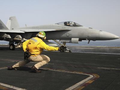 A Shooter Launches an F/A-18E Super Hornet from USS Dwight D Eisenhower-Stocktrek Images-Photographic Print