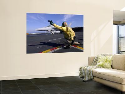 A Shooter Signals the Launch of an F/A-18 Super Hornet-Stocktrek Images-Wall Mural