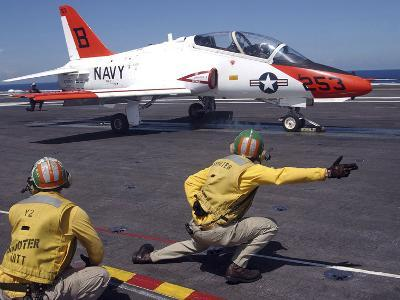 A Shooter Signlas the Launch of a T-45A Goshawk Trainer Aircraft-Stocktrek Images-Photographic Print