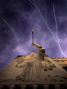 A Show of Lightning Ripples Across the North Texas Sky Above the Bass Performance Hall