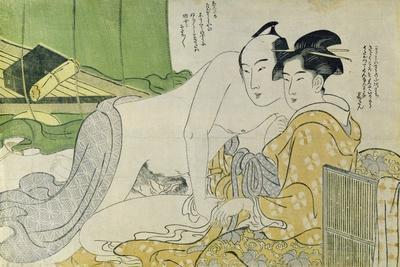A 'Shunga' (Erotic) Print: Lovers in a Tent, C.1785-Yushido Shunsho-Giclee Print