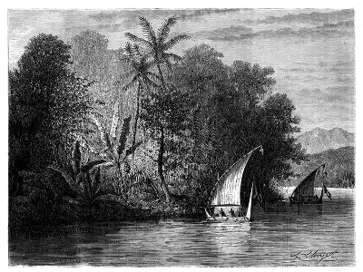 A Sight at Celebes, Indonesia, 19th Century-Hubert Clerget-Giclee Print