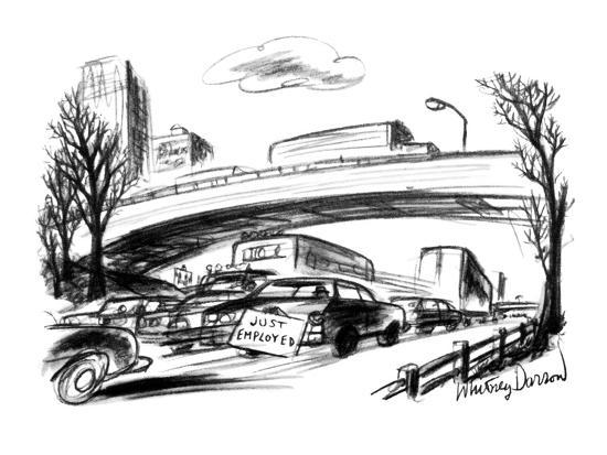 A sign on the trunk of a car in rush hour traffic reads: 'Just Employed.' - New Yorker Cartoon-Whitney Darrow, Jr.-Premium Giclee Print