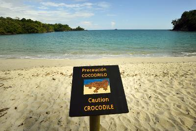 A Sign Warns People from Swimming in the Waters of Playa Manuel Antonio-Jonathan Kingston-Photographic Print
