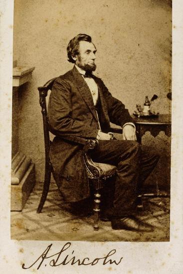 A Signed Carte-De-Visite Photograph of Abraham Lincoln, 1861-Alexander Gardner-Giclee Print
