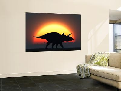 A Silhouetted Triceratops Strolling Past a Setting Sun at the End of a Prehistoric Day-Stocktrek Images-Wall Mural