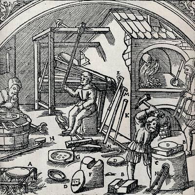 A Silver Refinery, 1556, (1917)--Giclee Print