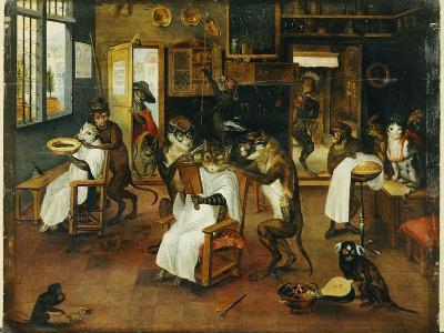 A Singerie: Monkey Barbers Serving Cats-Jan Van, The Elder Kessel-Giclee Print