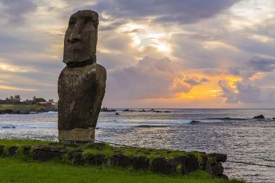 A Single Moai at Fisherman's Harbor in the Town of Hanga Roa-Michael Nolan-Photographic Print